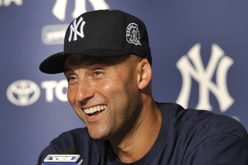 New York Yankees great Derek Jeter speaks during a news conference in 2011.