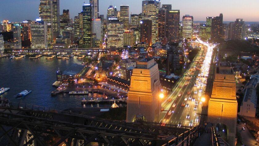 AUSTRALIA-- Sydney's skyline from the top of the BridgeClimb Sydney. *photo is slightly out of foc