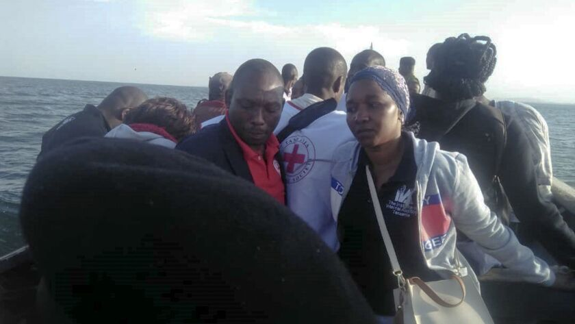 This photo released by the Tanzania Red Cross shows ongoing rescue efforts on and around Ukara Islan