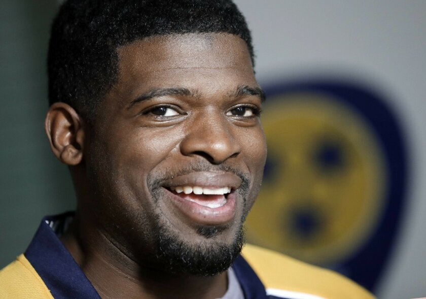 Nashville Predators defenseman P.K. Subban speaks at a news conference Monday, July 18, 2016, in Nashville, Tenn. Subban was acquired from the Montreal Canadiens in a trade for defenseman Shea Weber in June. (AP Photo/Mark Humphrey)