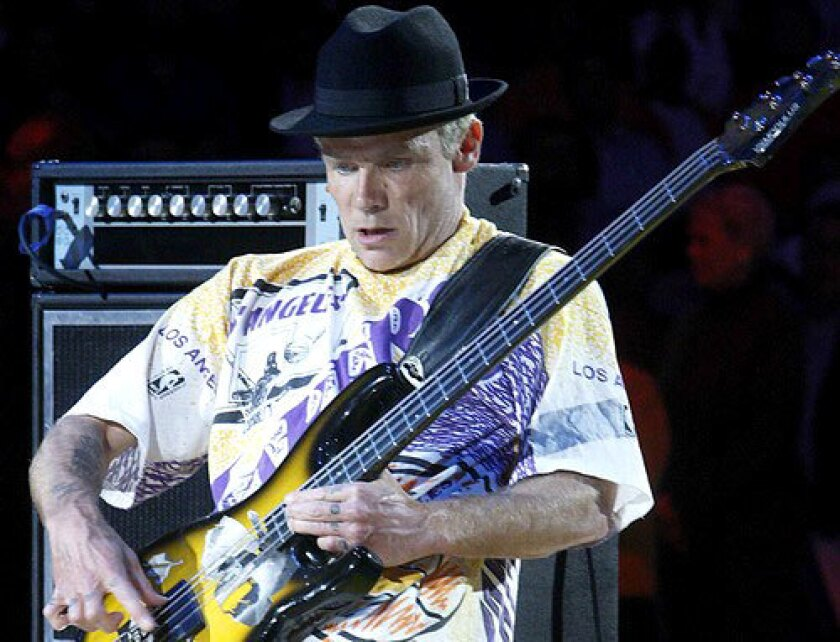 Flea plays the national anthem before a Lakers playoff game at Staples Center.