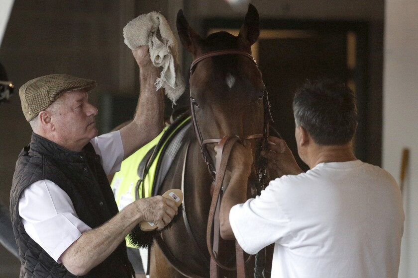 A virus hitting some barns at Del Mar has caused trainer Richard Mandella to pull Omaha Beach, shown May 1 at Churchill Downs, from Del Mar's Shared Belief Stakes.