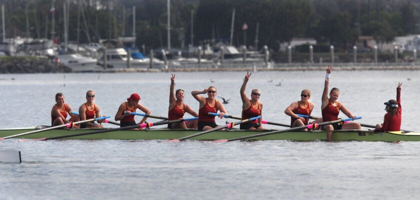 In the Women's Collegiate Grand Final Jessop-Whittier Cup Invitational, USC women celebrate their victory after crossing the finish line.  The 2015 Crew Classic Rowing Regatta finished up on Sunday on Mission Bay with the celebrated final cup races.