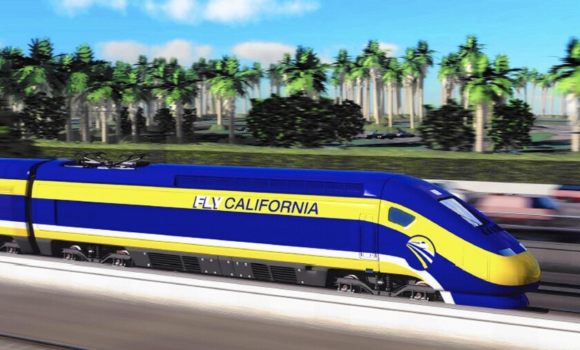 California has been considering a high-speed rail link between L.A. and the Bay Area since Gov. Jerry Brown's first terms as governor in the late 1970s. Construction on the $68-billion project gets underway today. Above, an artist's conception of the planned train.