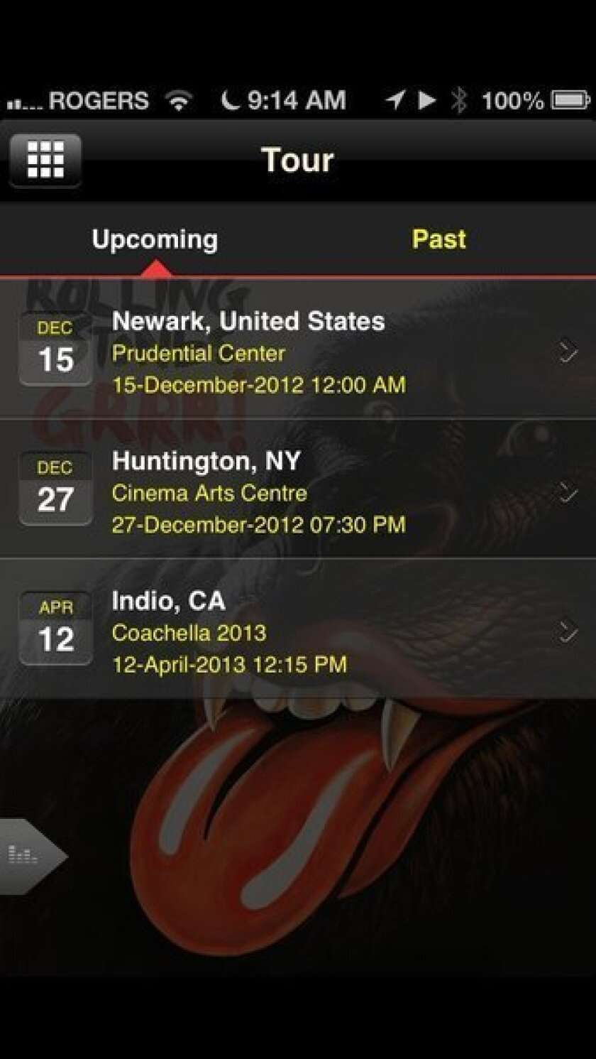 A screen shot of the Rolling Stones' smartphone app, which suggests an unannounced Coachella date.