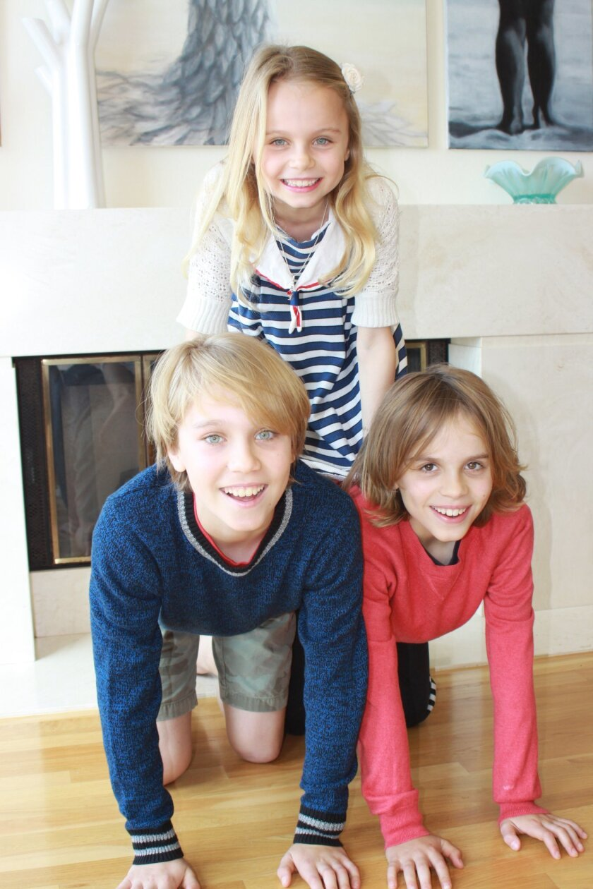 Luke, Juliet and Matthew Garbacz in their La Jolla home