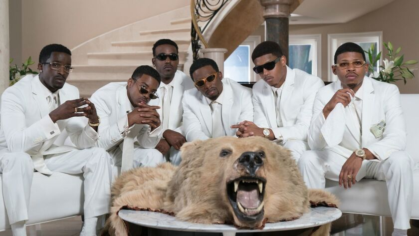 """A recreation of New Edition's 1996 """"Home Again"""" album. From left: Elijah Kelley as Ricky Bell, Algee Smith as Ralph Tresvant, Luke James as Johnny Gill, Woody McClain as Bobby Brown, Keith Powers as Ronnie DeVoe and Bryshere Y. Gray as Michael Bivins."""