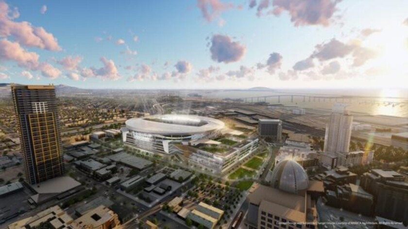 Rendering of proposed Chargers stadium rejected by San Diego voters in 2016.