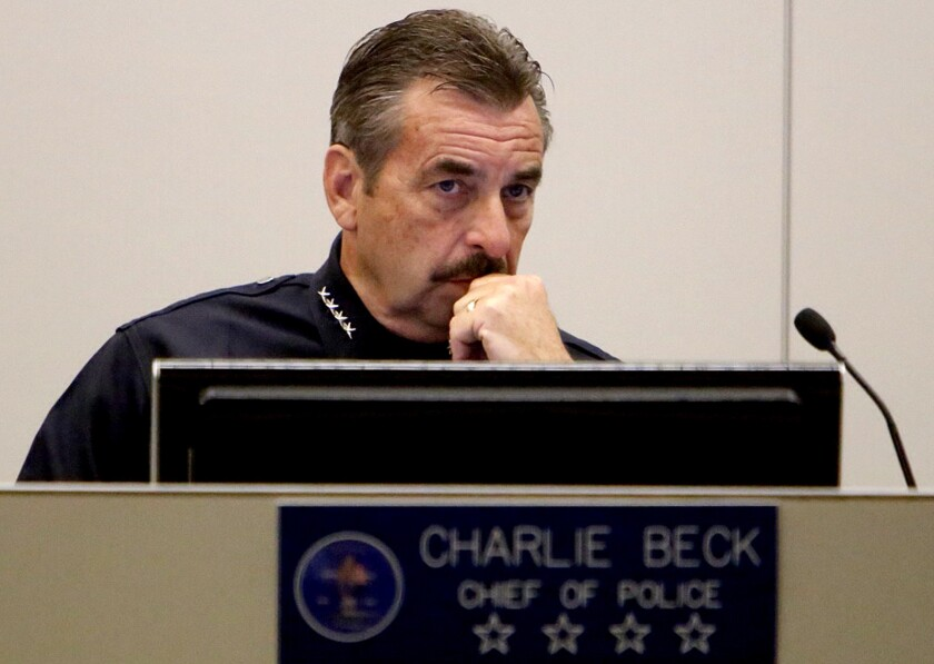 LAPD Chief Charlie Beck attends Tuesday's meeting of the Los Angeles Police Commission, which appointed him to a second five-year term as head of the city's Police Department.