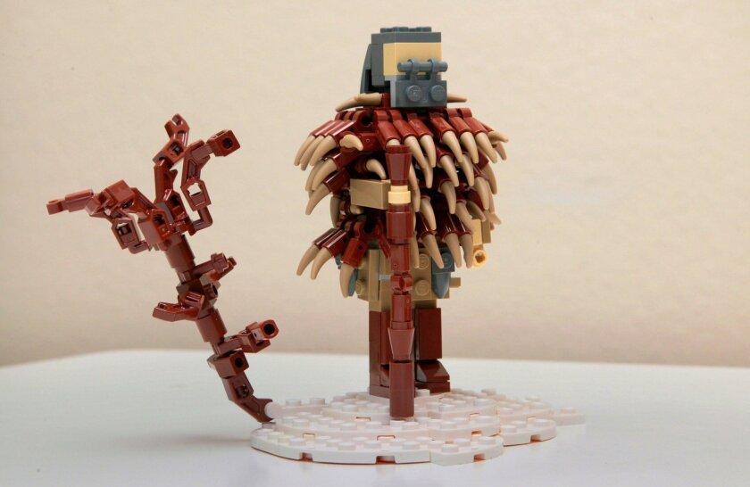 """Lego sculpture created by 15 year old Klaus Neyer of movie, """"The Revenant,"""" one he's created of this year's Oscar nominees."""