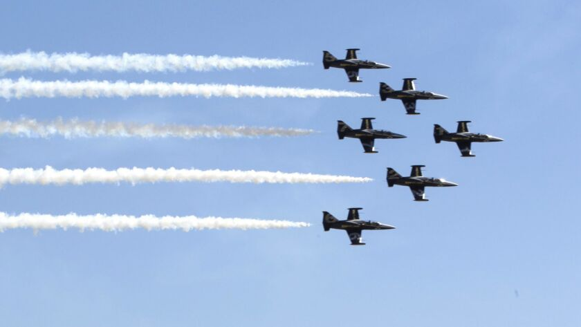The six-ship Patriots L-39 Jet Team will perform a 26-minute aerobatic routine of choreographed maneuvers on Friday, Saturday and Sunday at the MCAS Miramar Air Show.