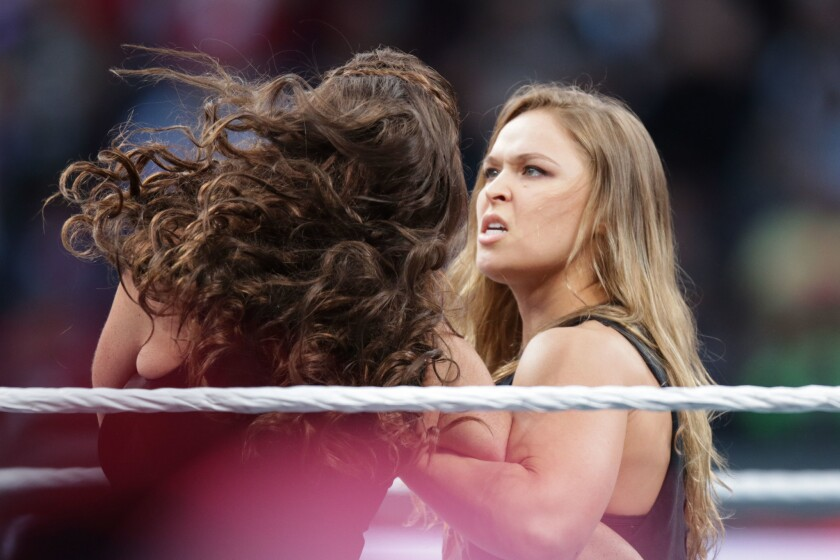 UFC fighter Ronda Rousey makes a surprise appearance at WrestleMania 31 on Sunday, March 29, 2015 at Levi's Stadium in Santa Clara, CA. WrestleMania broke the Levi's Stadium attendance record at 76,976 fans from all 50 states and 40 countries.