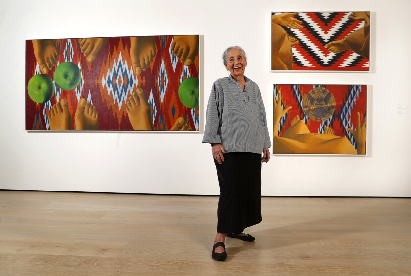 "Painter Luchita Hurtado, 97, is photographed before an installation of her paintings at the ""Made in LA"" biennial at the Hammer Museum."