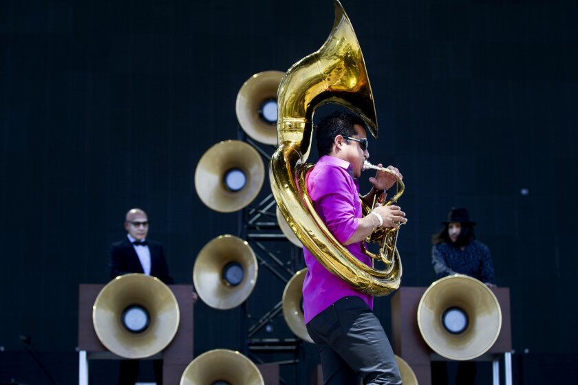 Day two of the 2015 Coachella Valley Music and Arts Festival.  Nortec Collective of Tijuana played early Saturday to a committed audience on the Coachella Stage. Adrian Gonzalez on Tuba keeps the beat going.