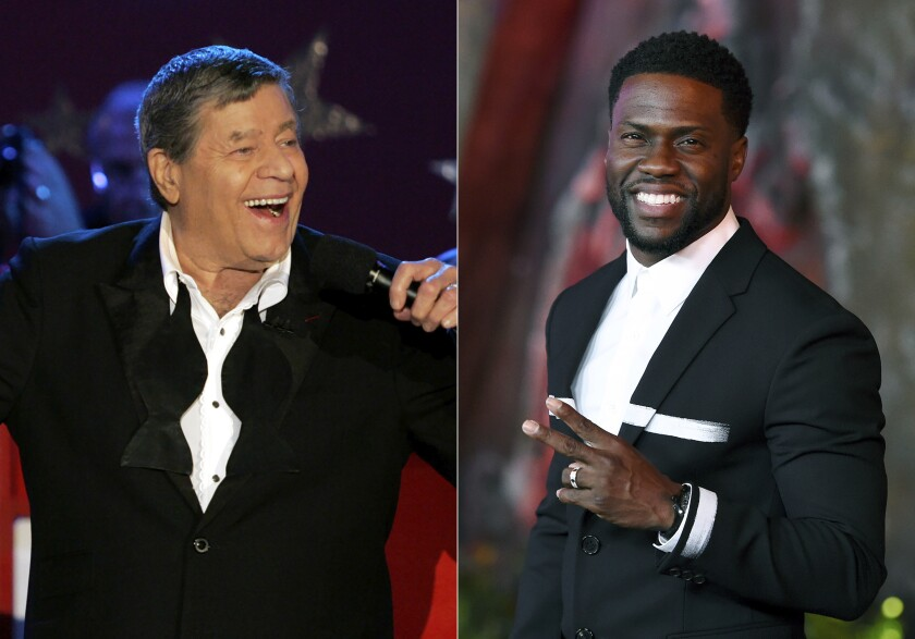 "Jerry Lewis performs during the Muscular Dystrophy Association telethon in Beverly Hills, Calif. on Sept. 5, 2005, left, and Kevin Hart arrives at the Los Angeles premiere of ""Jumanji: Welcome to the Jungle"" in Los Angeles on Dec. 11, 2017. Hart is hosting a re-imagined online fundraiser for the Muscular Dystrophy Association. The two-hour event will benefit the Muscular Dystrophy Association and Hart's Help From the Hart charity. It'll be streamed on LOL Network platforms including YouTube and PlutoTV on Saturday, Oct. 24. It's the first telethon in six years for the MDA, once known for its popular hours-long Labor Day broadcast hosted for decades by famed comic Jerry Lewis. Lewis last hosted in 2010 and died in 2017. (AP Photo)"