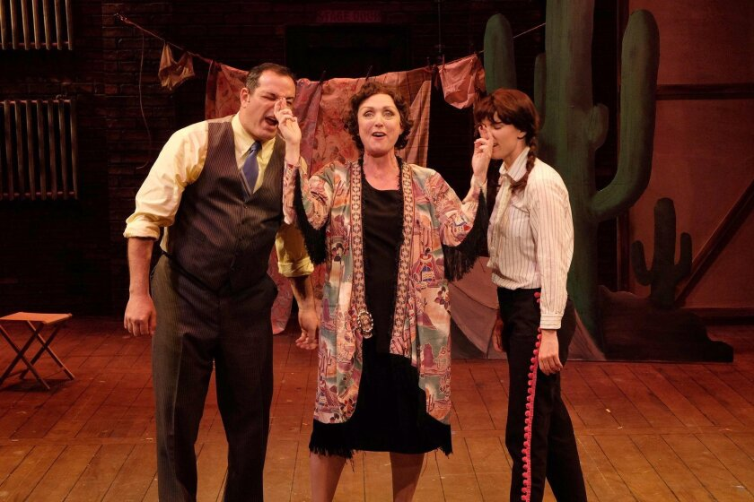 """Manny Fernandes, Linda Libby and Allison Spratt Pearce (from left) in Cygnet Theatre's """"Gypsy."""""""