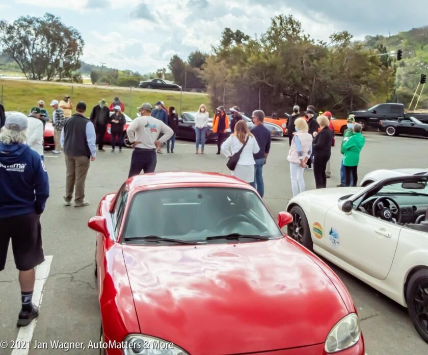 San Diego Miata Club members at drivers meeting