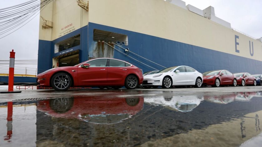 A few of the more than 1,800 Tesla electric cars, including over 1,600 Model 3s from the United States, that arrived in the port of Shanghai in February.