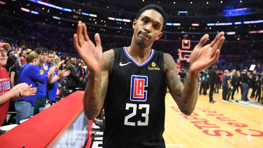 LOS ANGELES, CALIFORNIA APRIL 26, 2019-Clippers Lou Williams walks off the court after his team was
