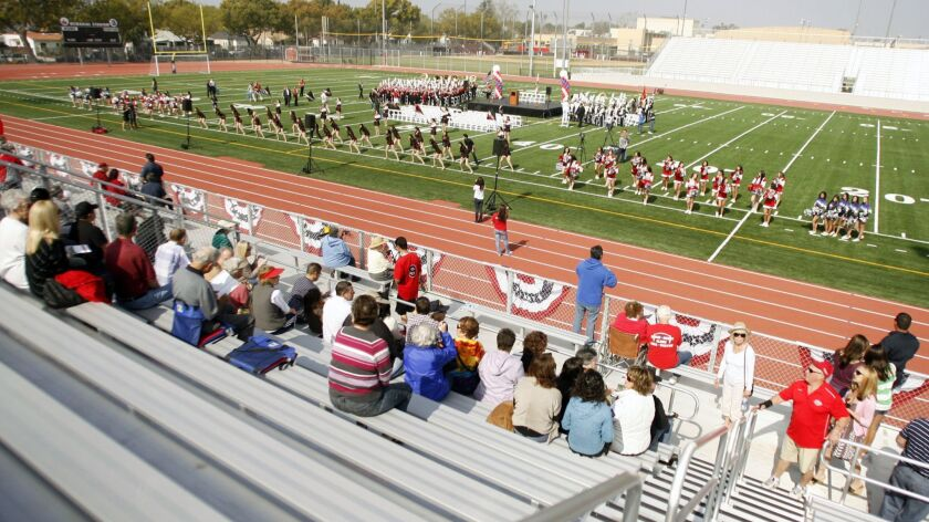 Burbank residents attend a groundbreaking ceremony of the new Memorial Field at John Burroughs High