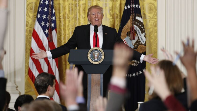 President Trump speaks during a news conference on Feb. 16, 2017, in the East Room of the White House.