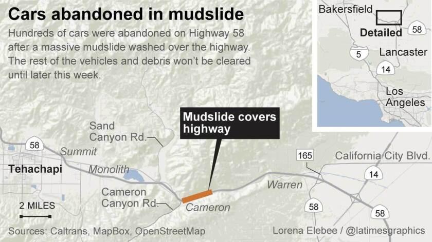 Cars abandoned after a mudslide