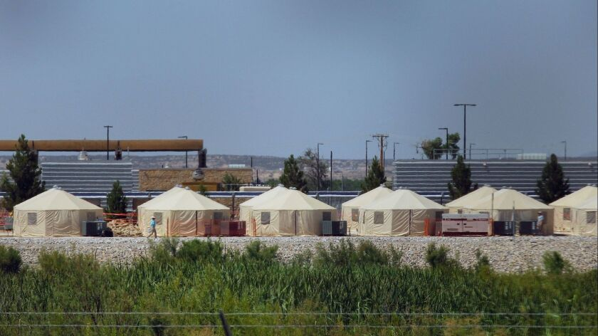 View of a temporary detention centre for illegal immigrant children and teenagers in Texas near the Mexico-US border on June 18.