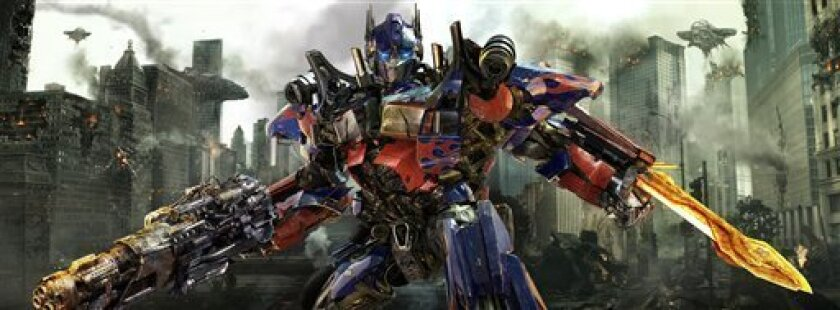 """In this publicity image released by Paramount Pictures, Optimus Prime is shown in a scene from """"Transformers: Dark of the Moon."""" (AP Photo/Paramount Pictures)"""