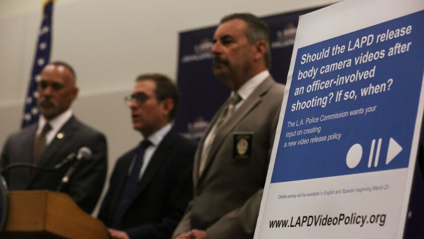 Police Commission President Matt Johnson, Policing Project director Barry Friedman and LAPD Chief Charlie Beck discuss efforts to gauge public feedback on when to release police video.