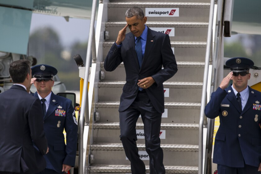 President Obama arrives in Los Angeles during an earlier visit in March 2015.