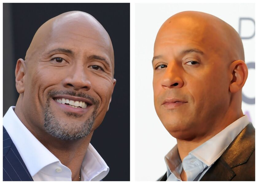 """Actor Dwayne Johnson, left, is seen during the Warner Bros. premiere of """"Central Intelligence"""" on June 10, 2016, and actor Vin Diesel appears in the media room during the People's Choice Awards on Jan. 6, 2016."""