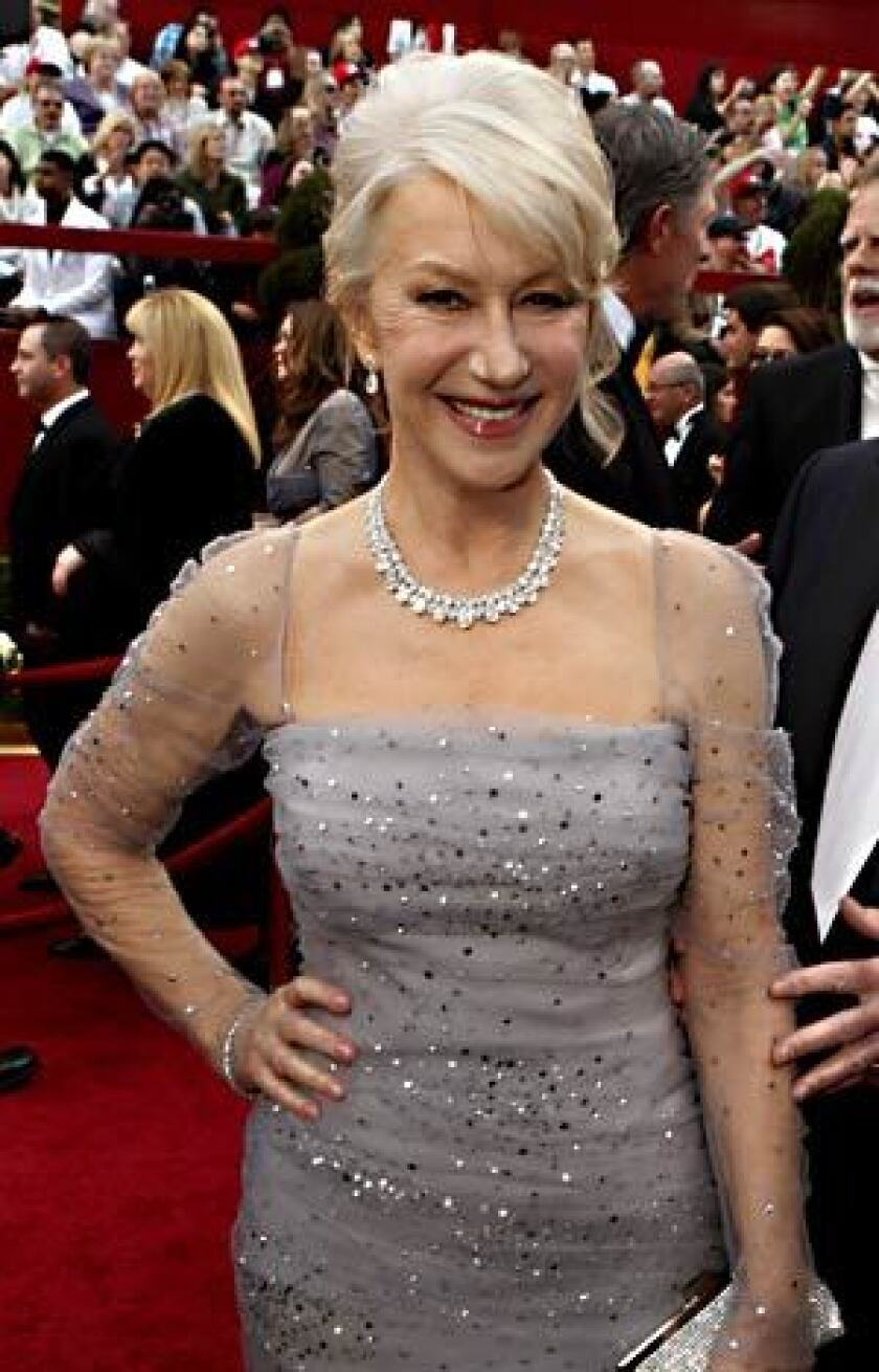 On the Academy Awards red carpet, Helen Mirren makes silver chic.