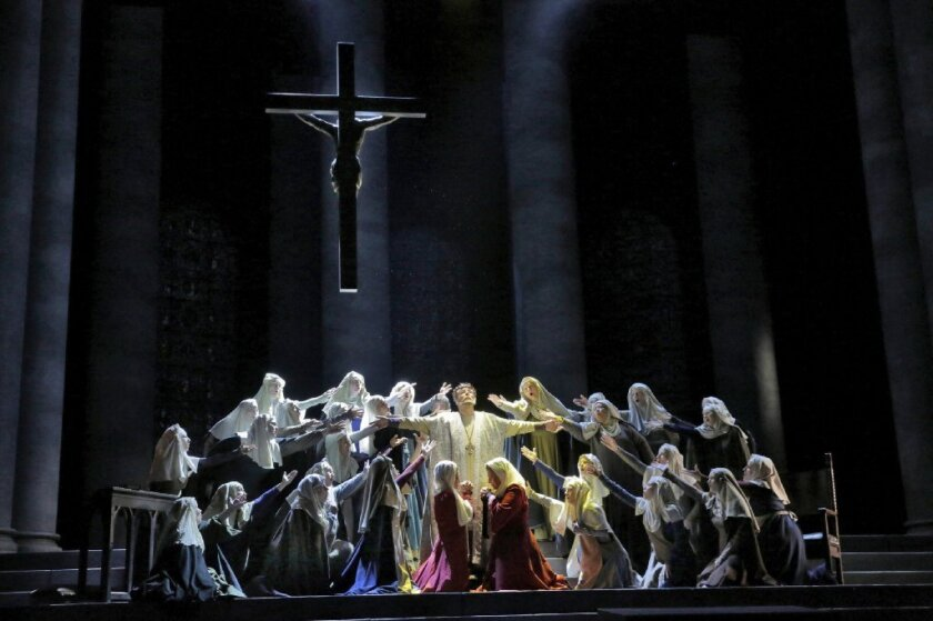 """San Diego Opera has a reprieve for now after board members and petitioners objected to plans to shut it down. Here, a performance of """"Murder in the Cathedral"""" last year."""