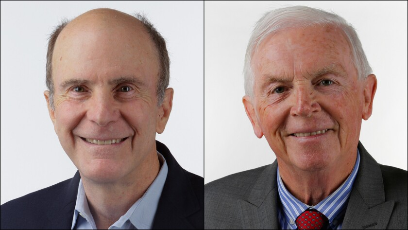 Mark Wyland (L) and Rick Shea, county Board of Education trustee candidates. Photos by Nelvin C. Cepeda.