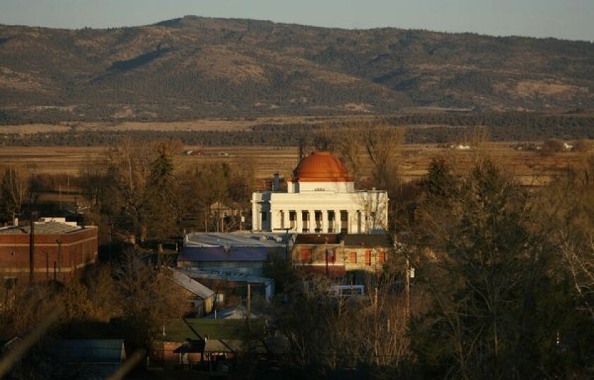 The old county courthouse looms large in the Modoc county seat of Alturas, Calif.