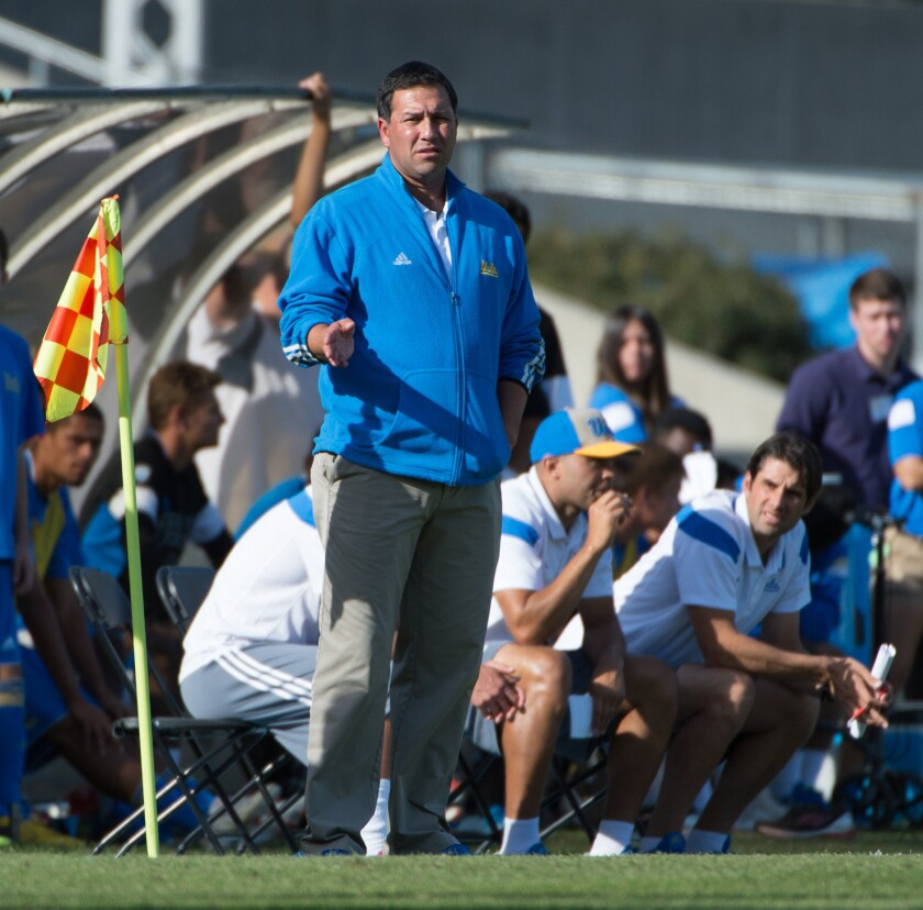 UCLA Men's Soccer coach, Jorge Salcedo during a game versus San Diego State University, Drake Stadiu