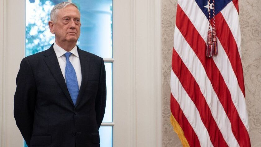 Secretary of Defense James N. Mattis, shown in the White House Oval Office earlier this year, on Thursday announced his plans to resign in February.