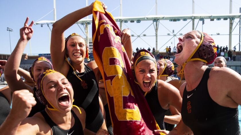 LOS ANGELES, CALIF. - MAY 13: The USC Trojans celebrate defeating the Stanford Cardinal 5-4 to win t