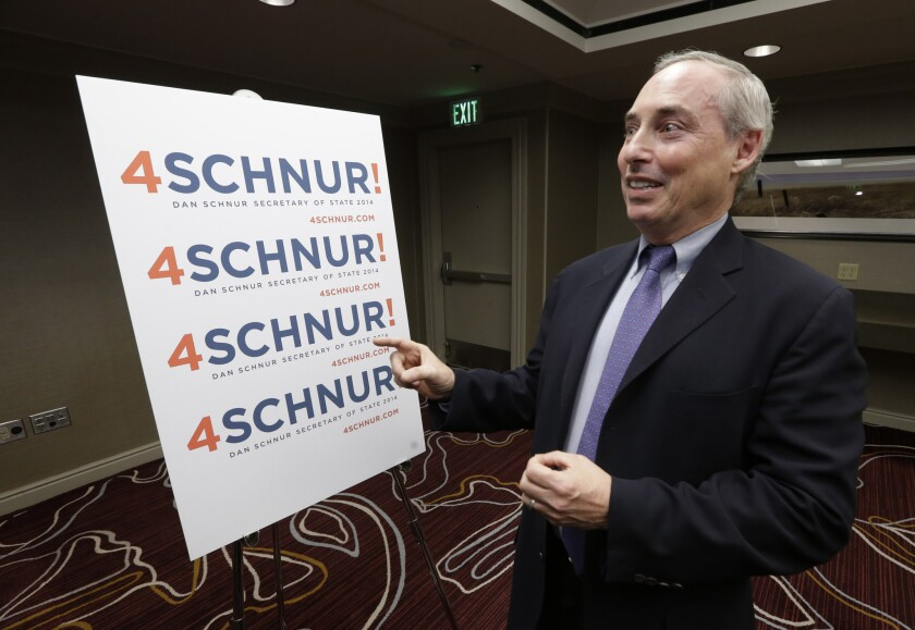Dan Schnur, a no-party-preference candidate for secretary of state, faces a complaint from the head of the Los Angeles County Democratic Party.