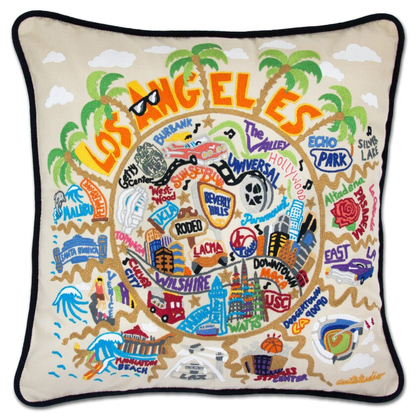 Catstudio's embroidered Los Angeles pillow