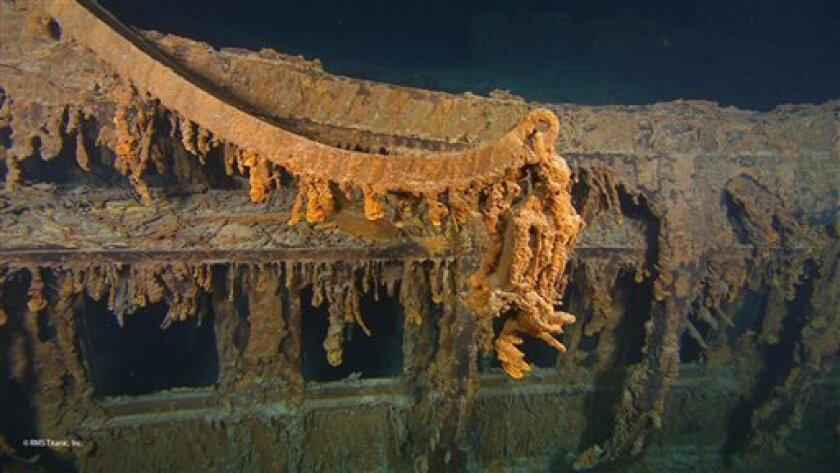 This photo August 2010 provided by RMS Titanic Inc., shows CThe last davit remaining on the wreck of RMS Titanic.  These lifeboat cranes were used to hoist the Ship's wooden lifeboats over the side and into the water during Titanic's sinking. Many of the boats launched soon after the sinking were n