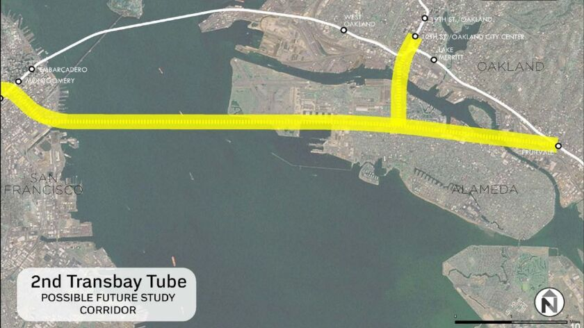 One idea for routing of a second transbay rail tube.