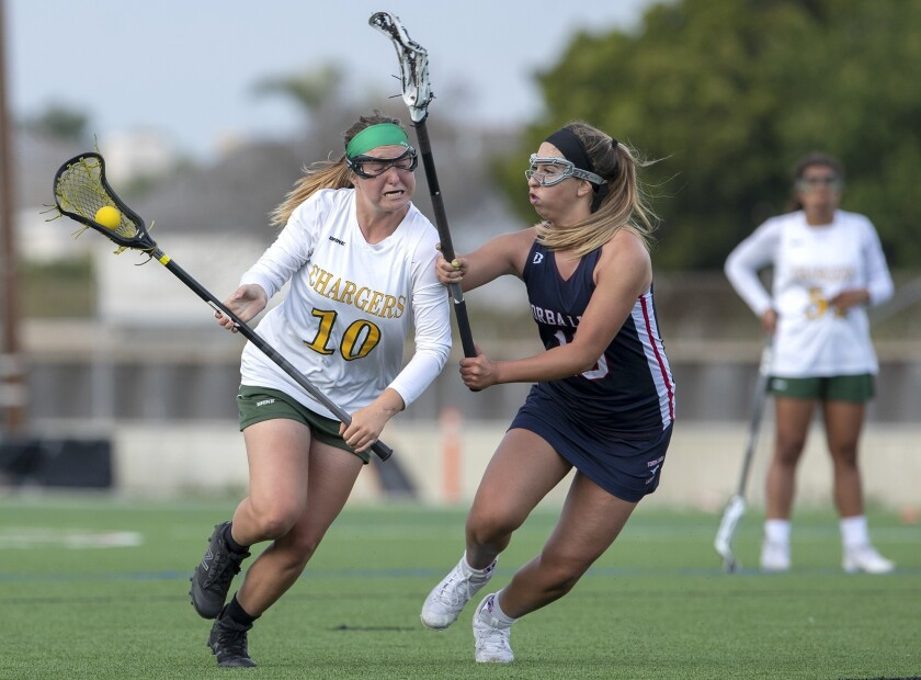 Edison's Annie Cavener gets pressure from Yorba Linda's Cierra Taylor during a nonleague game on Thu
