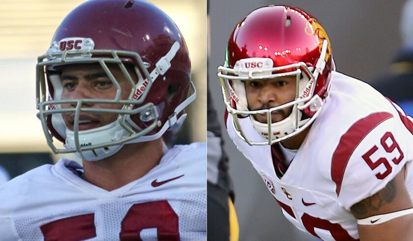 Former USC linebackers Osa Masina, left, and Don Hill.