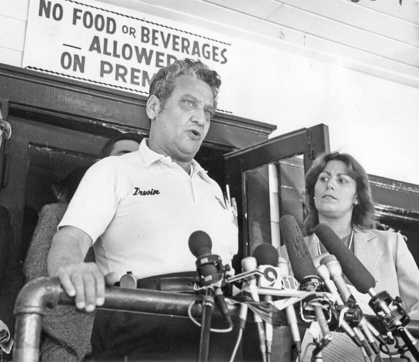 Irwin Held in 1985 outside Barney's Beanery with West Hollywood Mayor Valerie Terrigno.
