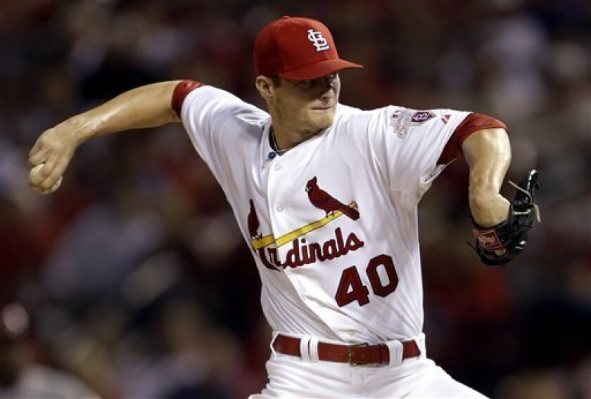 St. Louis Cardinals starting pitcher Shelby Miller throws during the fourth inning of a baseball game against the Cincinnati Reds, Wednesday, Oct. 3, 2012, in St. Louis. (AP Photo/Jeff Roberson)