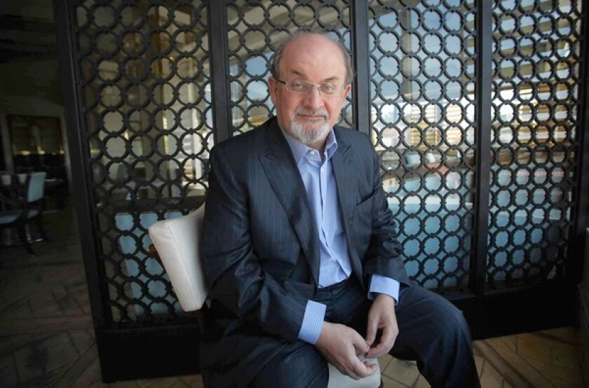 Author Salman Rushdie is seen at the London Hotel in West Hollywood.