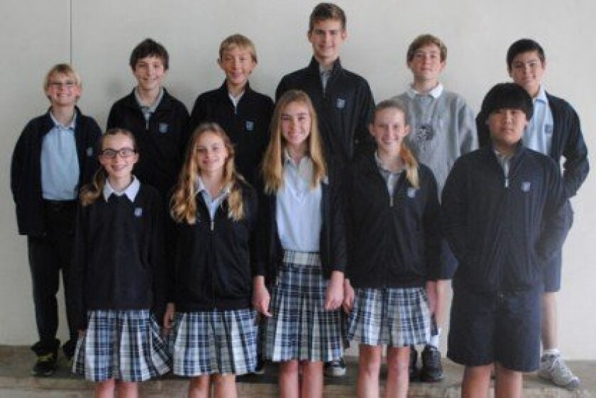 Horizon Prep Middle School ACSI Math Olympics Finalists: (1st Row, L-R) Abby Gammel, Camille Lundstedt, Kirsten Hilling, Taylor Sparks, Yechan Choi; (2nd Row, L-R) Jake Pezzi, D.J. Younkin, Carson Wright, Hayden Center, Tate Thompson, Antonio Partida, (Not pictured: Alex Partida).