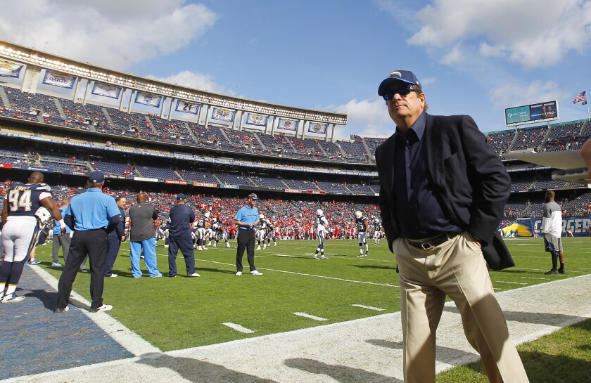 San Diego Charger Chairman Dean Spanos looks on before 2016 season finale against the Kansas City Chiefs at Qualcomm Stadium on Sunday, Jan. 1, 2017.