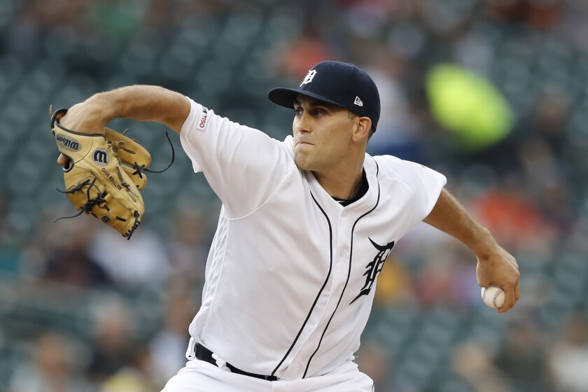 FILE - In this Aug. 13, 2019, file photo, Detroit Tigers starting pitcher Matthew Boyd throws during the first inning of the team's game against the Seattle Mariners in Detroit. The Tigers agreed to a $5.3 million, one-year deal with Boyd on Friday, Jan. 10. The Tigers avoided arbitration with Boyd and all their eligible players. (AP Photo/Carlos Osorio, File)